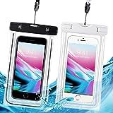 防水ケース スマホ用 防水携帯ケース IPX8規格 夜間発光 潜水 お風呂 水泳 砂浜 水遊びなど用防水携帯ケース フォンケース・カバー フローティング 【iPhone X / 8/7/6 / Plus とAndroid SAMSUNG Galaxy S8/S7 edge/SONY Xperia/HUAWEI ネックストラップ付属 各種のスマホ防水ケース6インチまで対応】- 2枚セット (黒 と白)