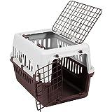 Pet Vida Transportbox mit 2 Türen, Haustier, Hund, Katze, Weiß & Braun