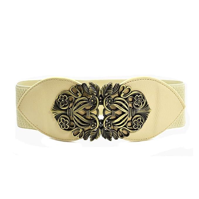 9bc82ed5493b Nanxson(TM Femme Fille Taille Élastique Ceinture Large Orné Boucle Rétro  Unicolore Multi-couleurs PDW0067 (beige)  Amazon.fr  Vêtements et  accessoires