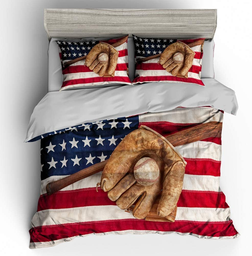 SHOMPE 3D American Flag Baseball Comforter Sets Twin Size Boys Sports Bedding