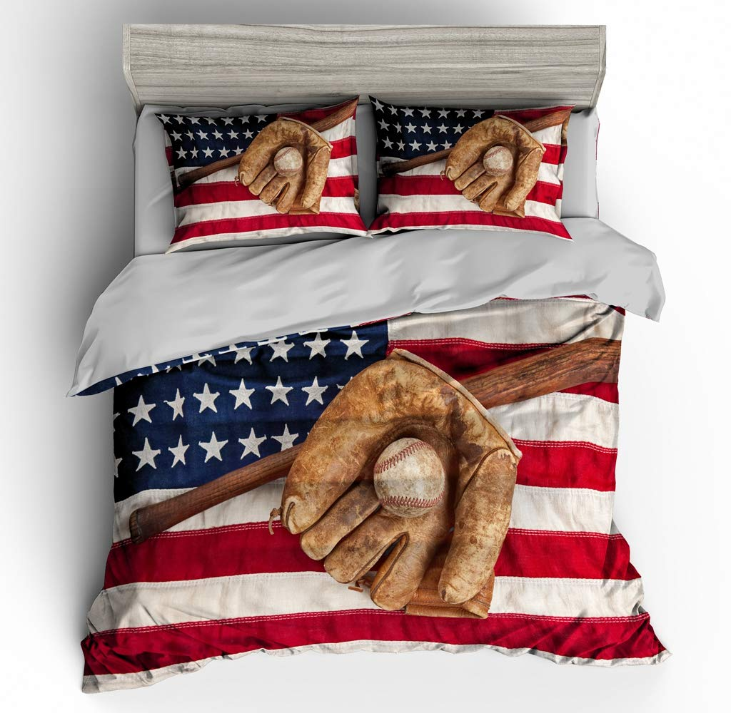 SHOMPE 3D American Flag Baseball Bedding Set,Kids 3 Piece Duvet Cover Set with Pillow Shams for Teens Boys Girls,NO Comforter,Twin Size