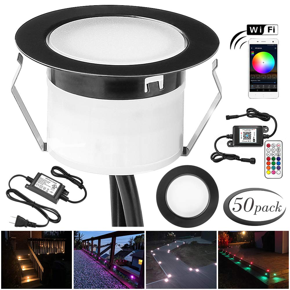 FVTLED 6pcs Muticolor Low Voltage Waterproof /Φ1.77 Recessed RGB In-ground Lighting Garden Yard Soffit Patio Stair Decor Lamp LED Deck Lights Kit Black