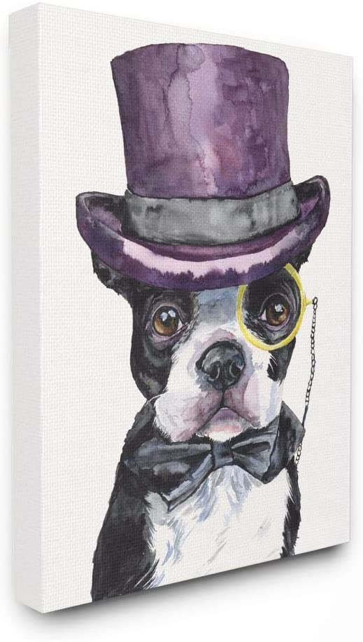 Stupell Industries Boston Terrier with Hat Dog Pet Animal Watercolor Painting Canvas Wall Art, 16 x 20, Multi-Color
