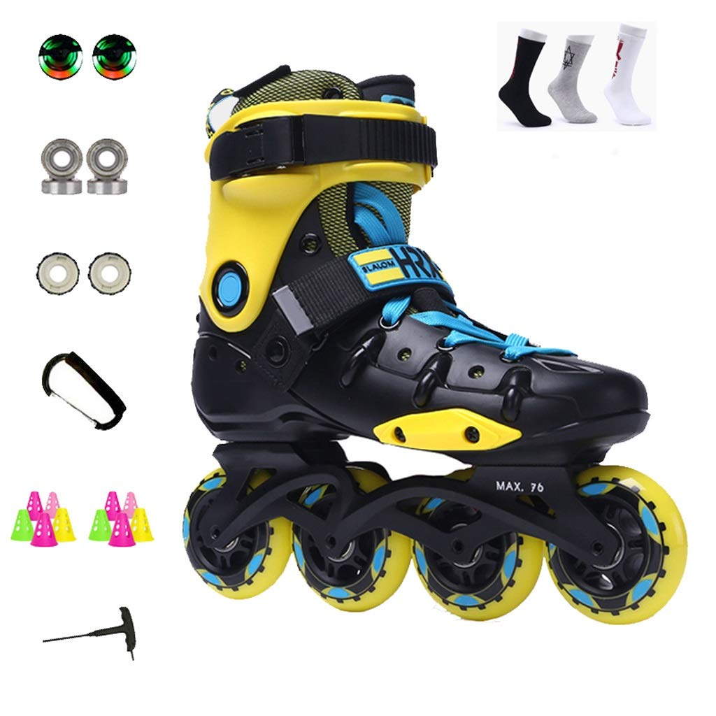 YANGXIAOYU Inline Skates, All-Round Breathable Design Inline Skates Set Red Yellow Suitable for Men and Women Boys Girls (Color : Yellow, Size : 36 EU/4.5 US/3.5 UK/23cm JP)