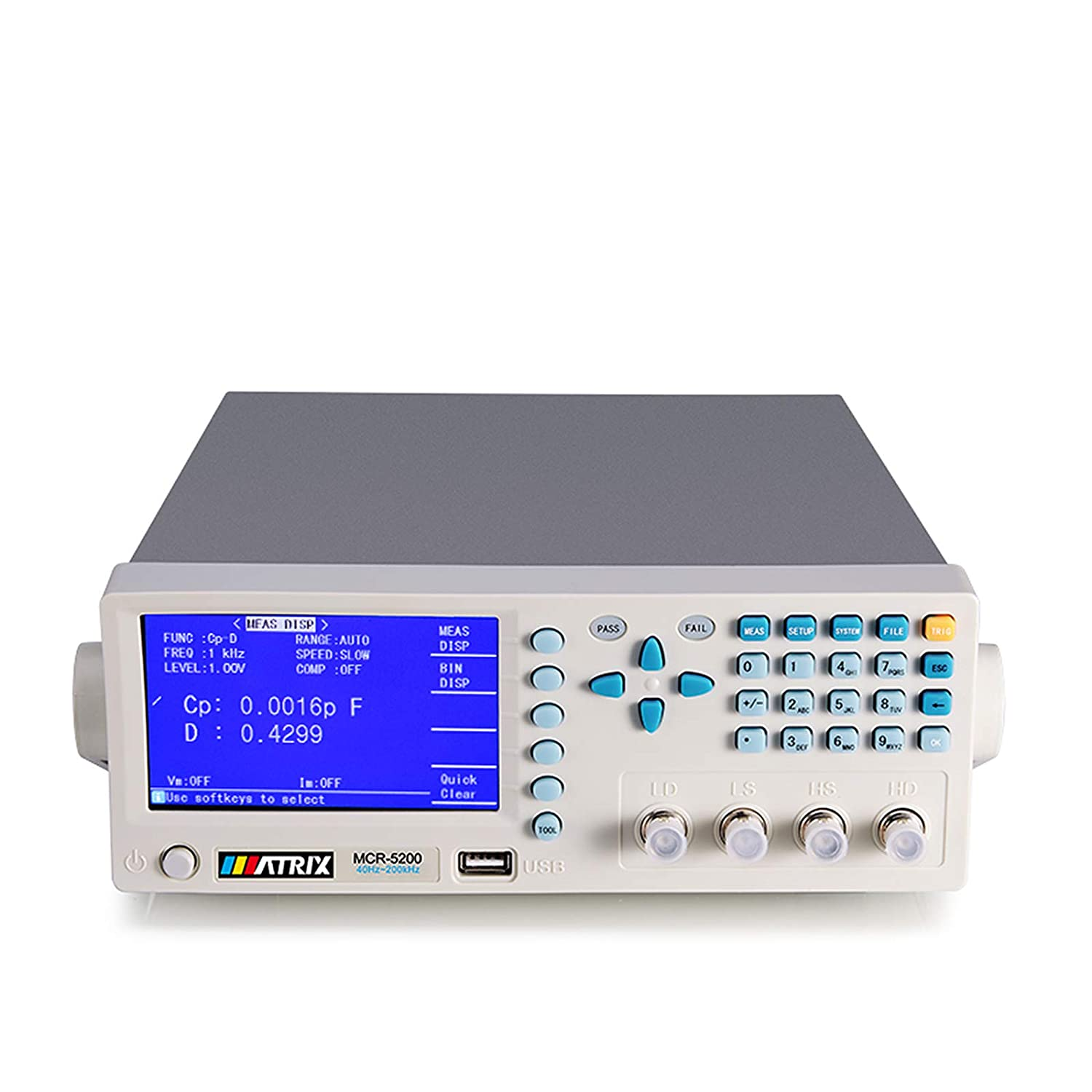 Digital LCR Meter Benchtop Tester for Capacitance Resistance Inductance Measuring 40Hz-200kHz (MCR5200)