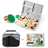 PlanetBox ROVER Eco-Friendly Stainless Steel Bento Lunch Box with 5 Compartments for Adults and Kids - Black Carry Bag with Sports Balls Magnets