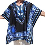 RaanPahMuang Brand Throw Over Poncho Top (Fully Open Sides) African Dashiki Art, Blue With Black
