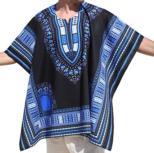RaanPahMuang Brand Throw Over Poncho Top (Fully Open Sides) African Dashiki Art, Blue With Black by RaanPahMuang