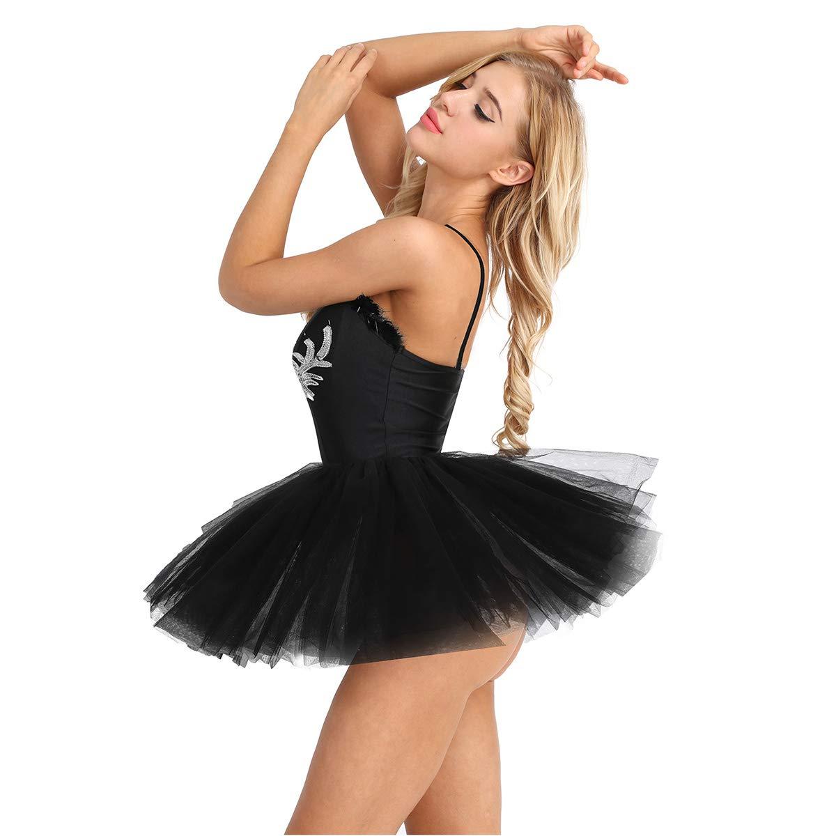 TiaoBug Mujer Adultas Vestido de Ballet Disfraz de Princesa Lago de Cisnes Vestido Sin Mangas de Espaguetis Lentejuelas Tut/ú Falda para Actuaci/ón de Danza