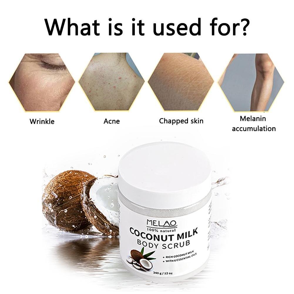Exfoliante exfoliante corporal Leche de coco y sal del mar muerto Exfoliante y mascarilla hidratante e hidratante para el cuerpo puro