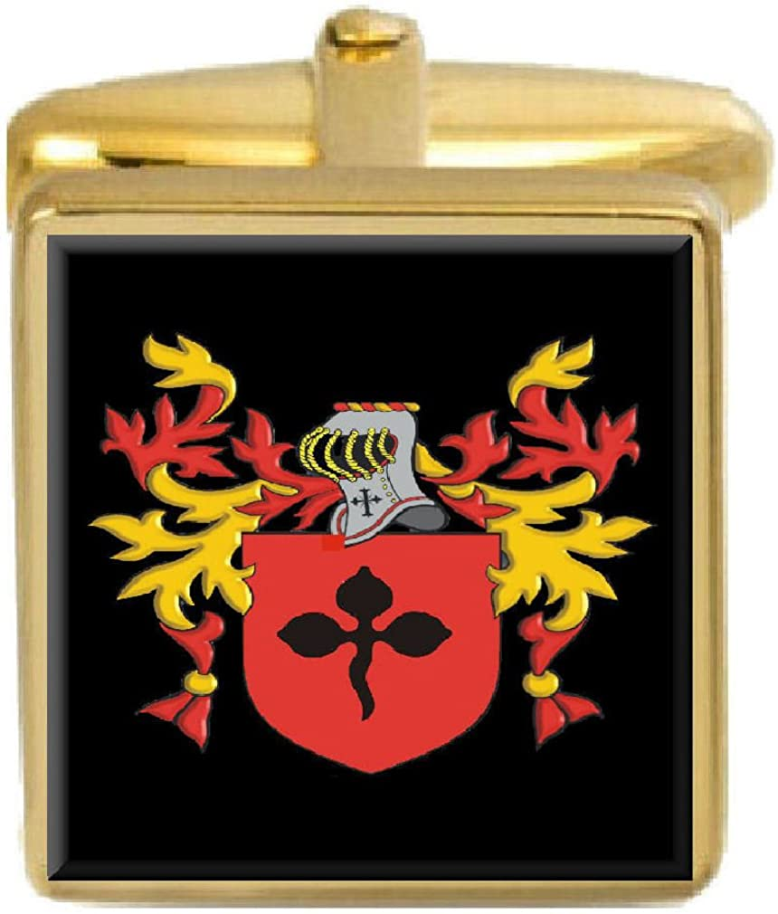 Select Gifts Nott England Family Crest Surname Coat Of Arms Gold Cufflinks Engraved Box