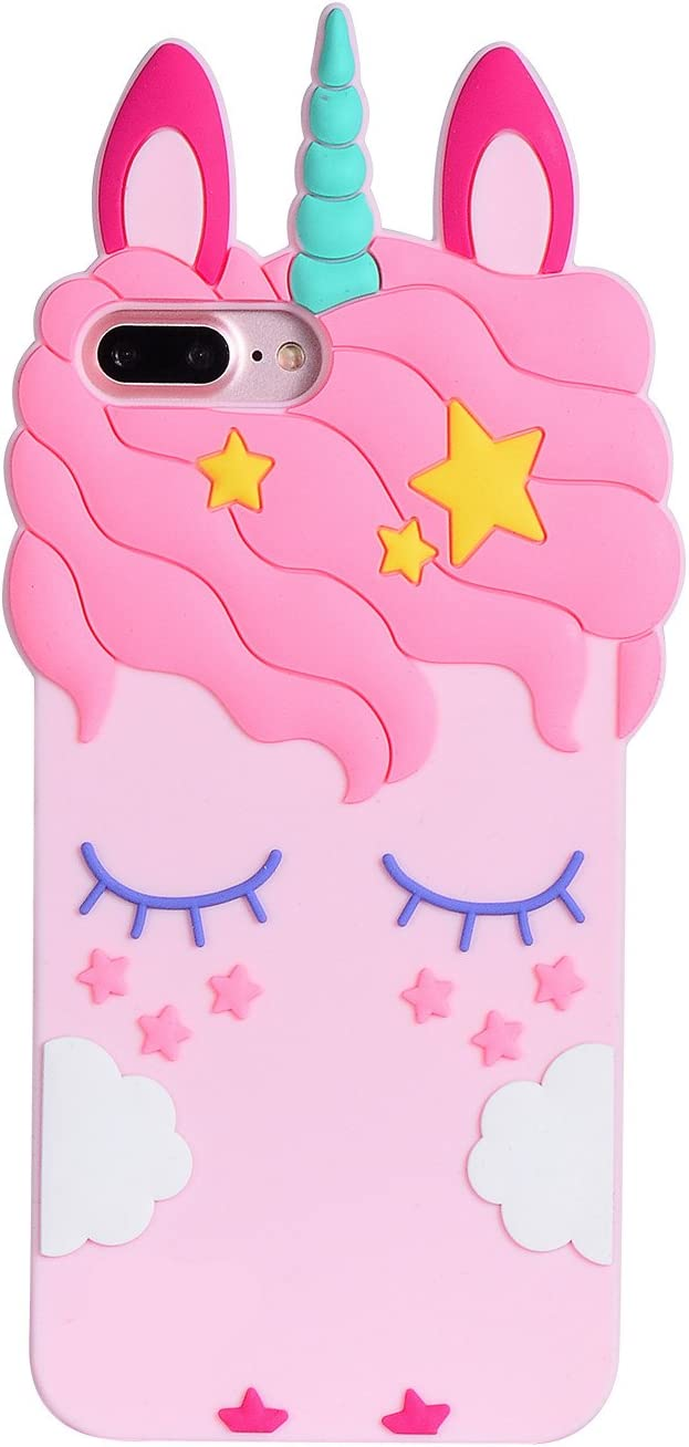 """Joyleop Unicorn Case for iPhone 6 Plus 7 Plus 8 Plus,Cute 3D Cartoon Animal Cover,Kids Girls Soft Silicone Gel Rubber Kawaii Character Cases,Fashion Unique Shockproof Shell Protector iPhone 6s + 5.5"""""""