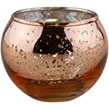 "Just Artifacts Round Mercury Glass Votive Candle Holder 2""H (Speckled Rose Gold, Set of 12) - Mercury Glass Votive Candle Holders for Weddings and Home Décor"