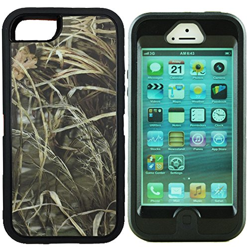 Kecko(TM)For iphone 5 Camo Case,Defender Series Realtree Camo Shockproof Impact Resistant Tough Armor Protective Camouflage Wood Design Rugged Case Cover with Built-in Screen Protector for iphone 5 Only--Orange/Green/Pink Tree Camo on the Core (i5--Grass Black)
