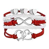 Leather Wrap Bracelets Girls Double Hearts Infinity Rope Wristband Bracelets