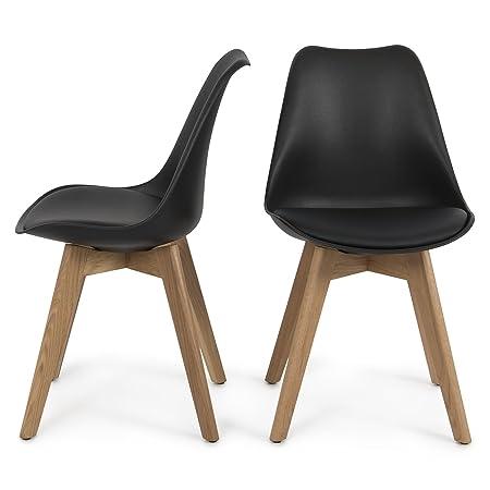 Belleze Set of 2 Modern DSW Style Molded Plastic Eiffel Wooden Legs Side Chairs w Seat Cushion, Black