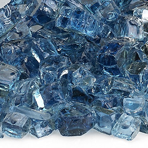American Fireglass 10-Pound Reflective Fire Glass with Fireplace Glass and Fire Pit Glass, 1/2-Inch, Pacific Blue -