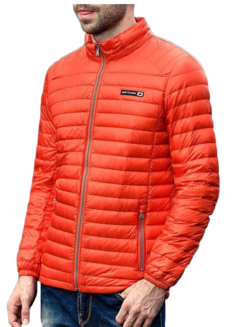 WSPLYSPJY Men Winter Zipper Puffer Coat Lightweight Packable Down Jacket