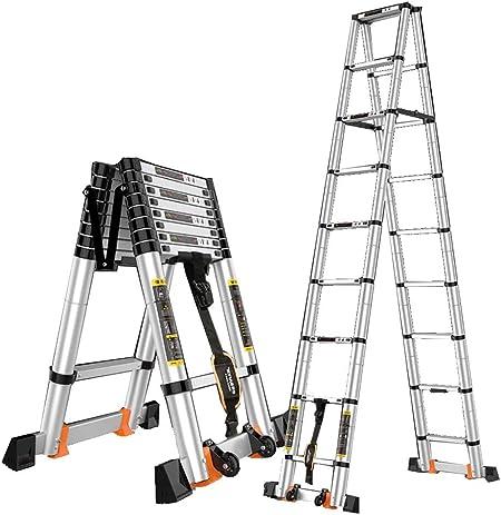 GWXSST Escalera Telescópica, Escalera telescópica Escalera de Aluminio Escaleras de elevación Escalera de ingeniería Ruedas de Espesar Plegado Escaleras para el hogar Extensión de la Escalera: Amazon.es: Hogar