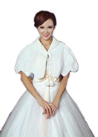 d05c51ee449680 Brautschal Brautjacke Herbst Festlicher Elegant Brautzusatz Winter Mode  Marken Bride Bridal Hochzeit Cape Umhang Weiß Kunstpelz: Amazon.de:  Bekleidung