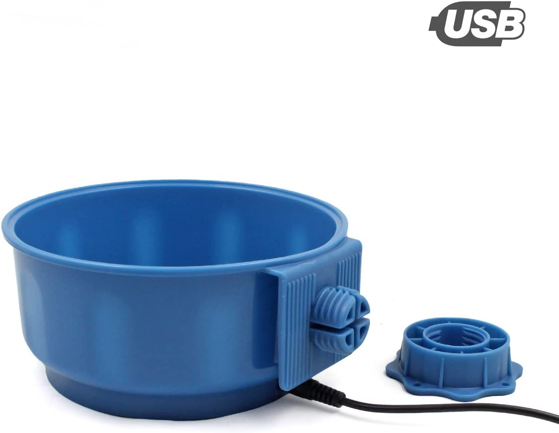 PETLESO Dog Heating Bowl for Indoor, Pet Crate Heating Water Bowl for Dog Cat Bird, Blue, 600ML(20.5OZ)