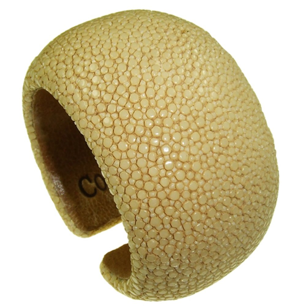SAND BEIGE Stingray Leather Cuff 40 mm Padded Size 21 CM
