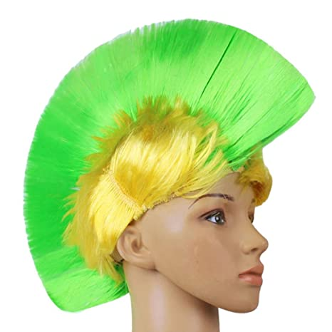 tianya Halloween vestido de fiesta hasta mascarada Punk Mohican peluca de pelo peinado colorido, verde