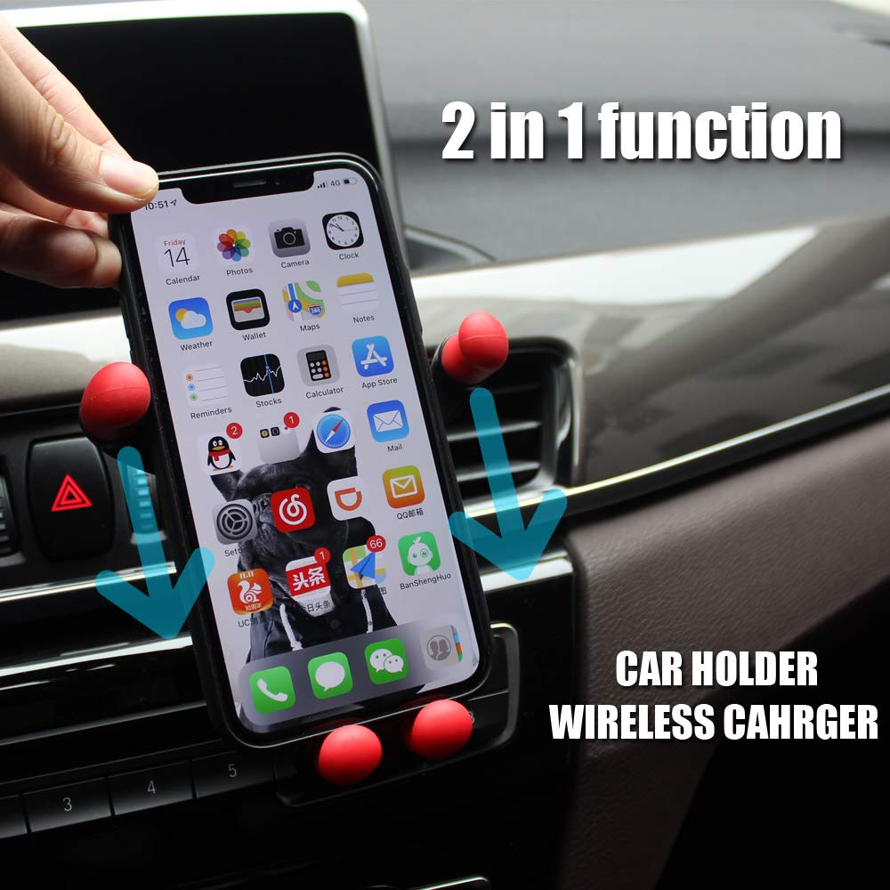 Wireless Fast Car Charger Mount, Adjustable Gravity Air Vent Phone Holder, 7.5W Compatible for iPhone XR XS Max XS X 8 8 Plus, 10W for Samsung Galaxy S9 S9 S8 S8 Note 8 and More