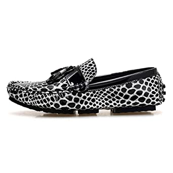 Amazon.com: Leopard Men Slip On Tassel Loafers Moccasins Gold Silver Driving Mocasines Hombre Mens Casual Shoes: Clothing