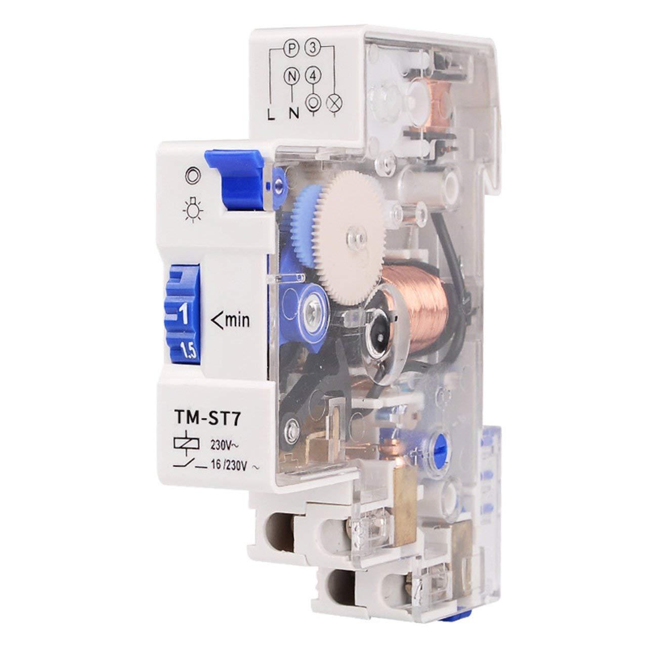 simple module minuterie 18 mm minuterie m/écanique 18 mm instruments de commutation rail DIN SINOTIMER TM-ST7 Minuterie m/écanique 7 minutes