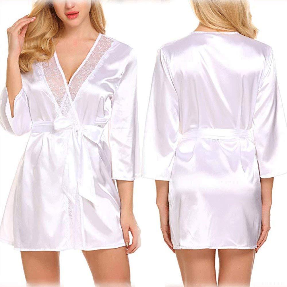 ... Batas De Estilo Kimono Cortas con Bata De Encaje Y Pijama De Dama De Honor De Dama De Honor Personalizada para Fiesta/Boda/Hogar,White-XXL: Amazon.es: ...