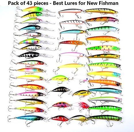 Kit de anzuelos con cebo para pesca de LureHunter, 6 modelos, 43 colores, pack de 43: Amazon.es: Deportes y aire libre