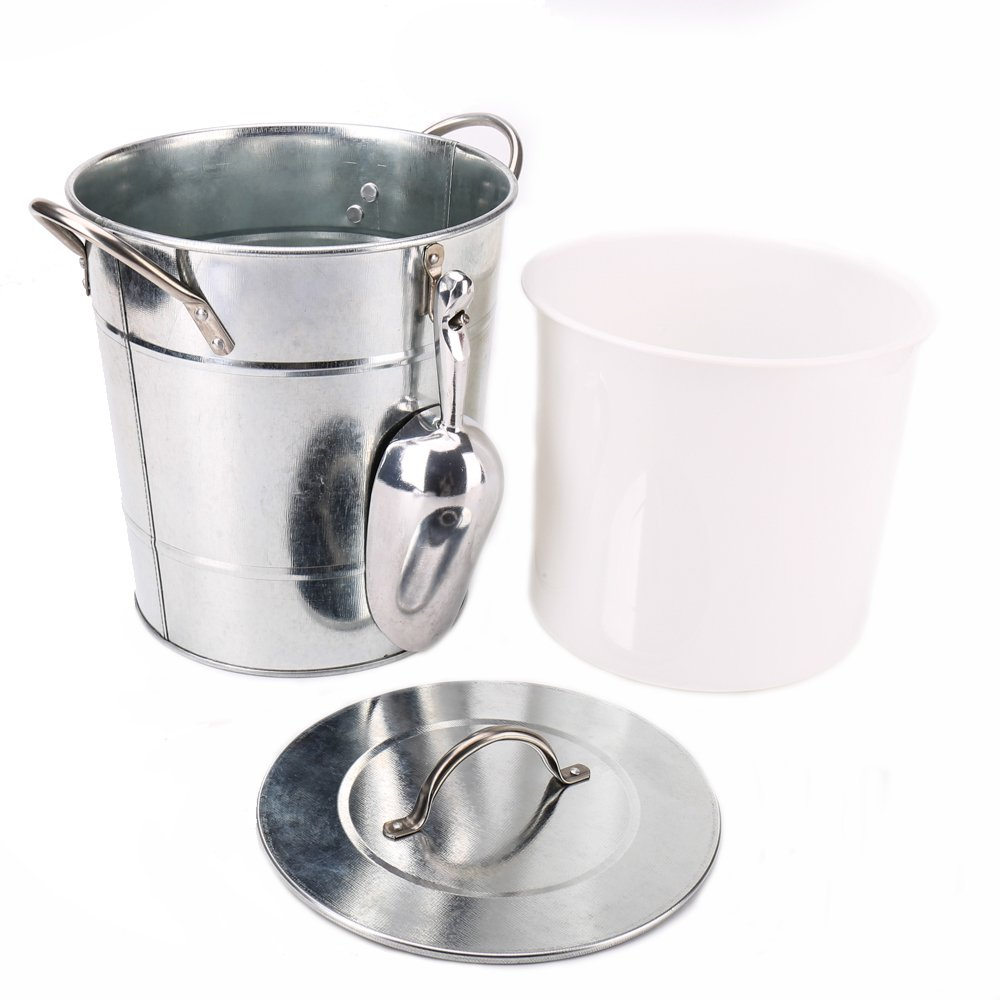 Hot Sale T586 4L Silver Metal Galvanized Double Walled Ice Bucket Set With Lid And Scoop by Home by Jackie Inc (Image #2)