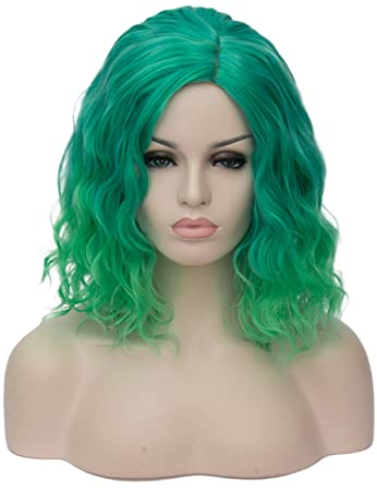 TopWigy Women Green Cosplay Wig Medium Length Curly Body Wave Colorful  Synthetic Heat Resitant Wigs Costume 62363dc6fc
