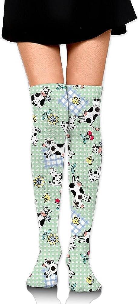 High Elasticity Girl Cotton Knee High Socks Uniform Milk Cow Women Tube Socks