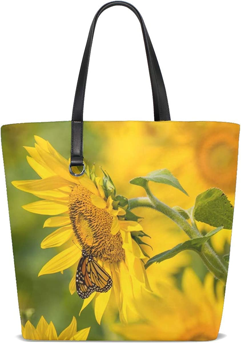 Sunflower Butterfly Yellow Tote Bag Purse Handbag For Women Girls