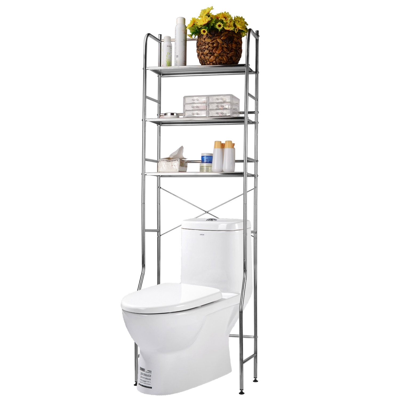 SortWise™ 3 Tier Over The Toilet Storage Rack, Durable Stainless Steel Bathroom Space Saver Organizer Shelf, Espresso