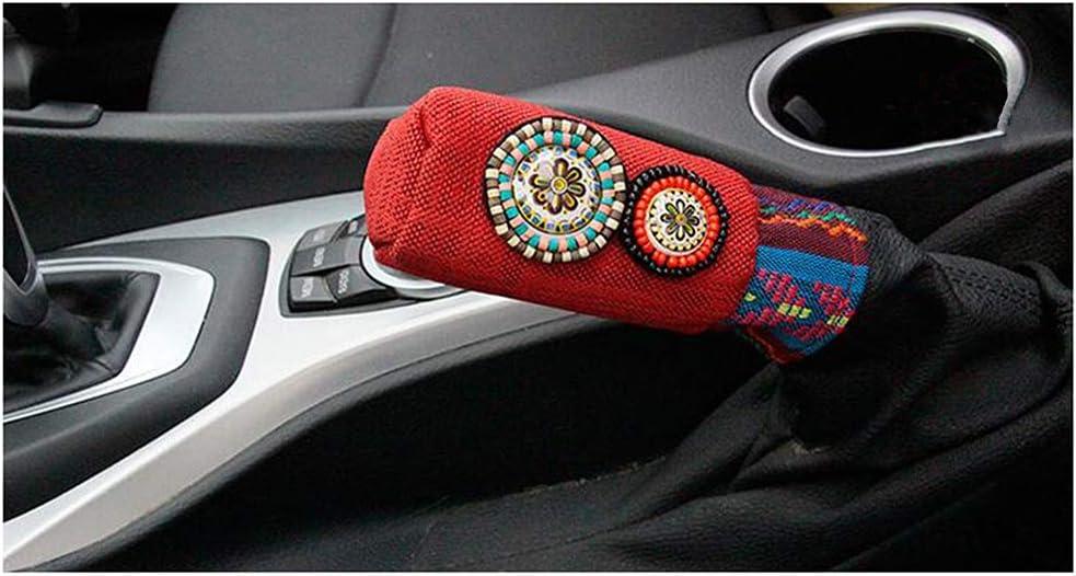 Siyibb Bohemian Style Car Handbrake Cover for Women Red