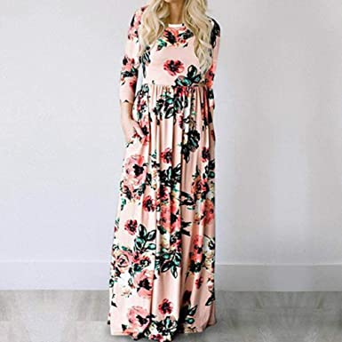4c72b322bf8 Image Unavailable. Image not available for. Color: 2019 Summer Long Dress  Floral Print Boho Beach Dress Tunic Maxi Dress Women Evening Party Dress
