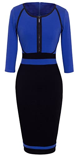 HOMEYEE Women's Vintage Colorblock Career Bodycon Dress B235