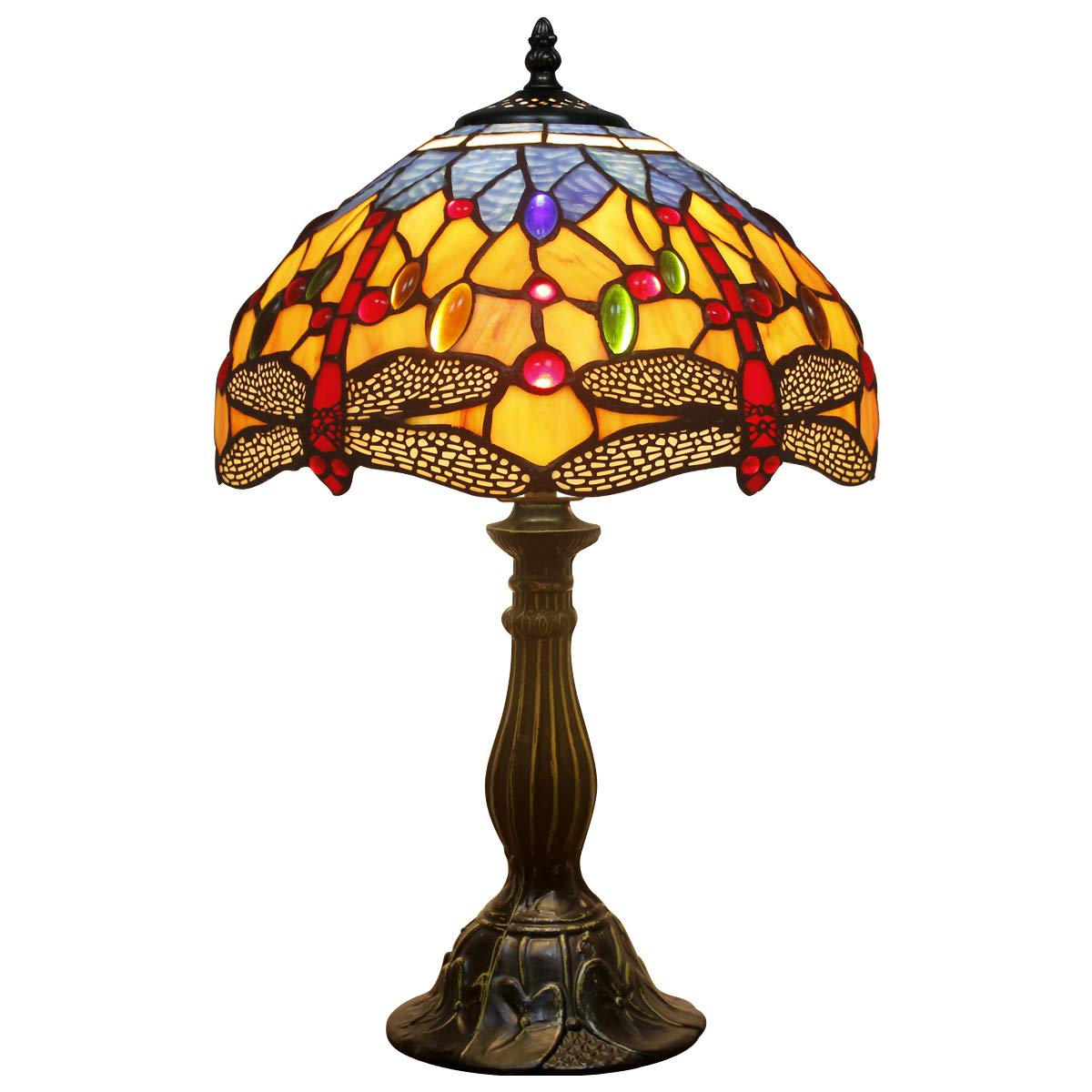 Tiffany Lamps Orange Blue Stained Glass and Crystal Bead Dragonfly Style Table Lamp Height 18 Inch for Coffee Table Living Room Antique Desk Beside Bedroom S168 WERFACTORY S16812T02