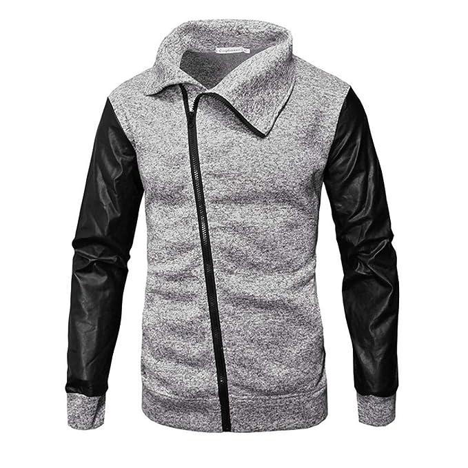Resplend Los Hombres Ocasionales otoño Invierno Cremallera Cuero Patchwork Outwear Blusa Tops