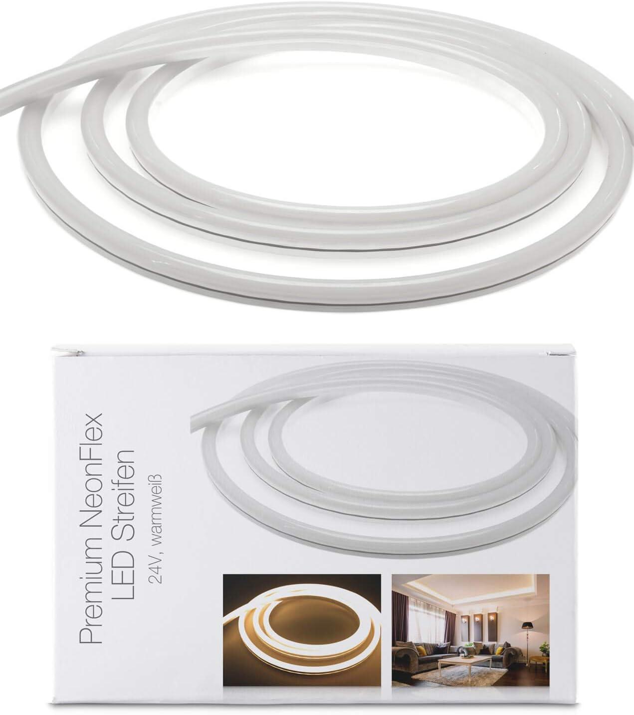 Tira de luces LED Neon Flex de 24 V, IP68, luz blanca cálida, 120 LED/m, 10 m