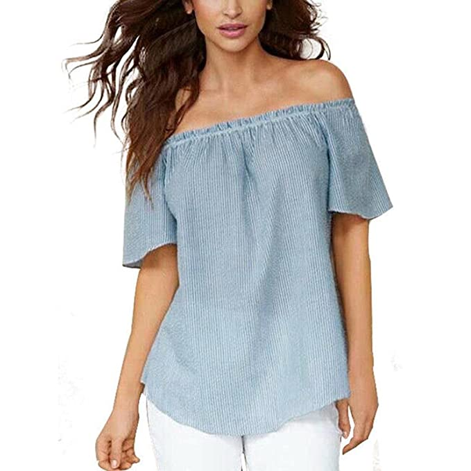 Sannysis Mujeres Verano Camisetas Pullover Casual Camisa Manga Blusa Rayadas Patchwork Elástico Tops Casual Suelto tee