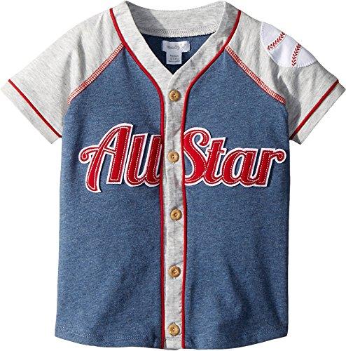 Mud Pie Baby Boys Baseball All Star Short Sleeve Button Down Shirt, Blue, - Baseball Boy Jersey