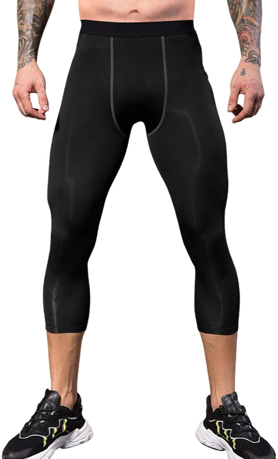 Men Compression Thermal Base Layer Tights Long Pants Quick Dry Workout 3//4 Capri