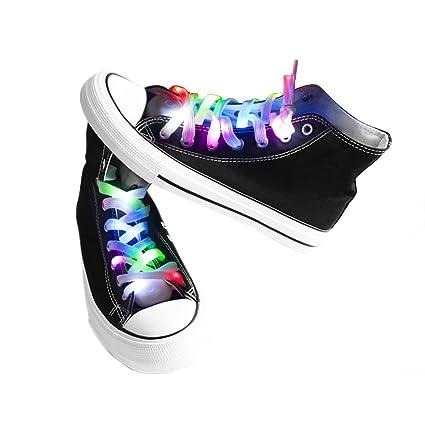 easyDecor (1 par Cordones LED Se ilumina 3 modos Batería Luz intermitente Cordones de zapatos