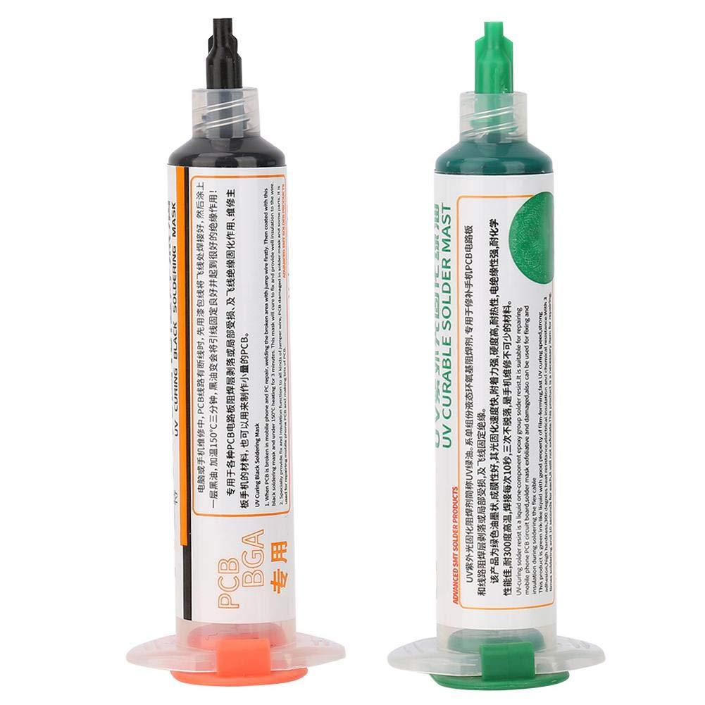 2 piezas de aceite de máscara de soldadura de curado por luz ultravioleta, negro, verde, BGA, PCB, resistencia tinta de soldadura, pintura de protección de placa de circuito, línea de aceite de s