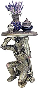 Design Toscano Battle of Slaughterbridge Gothic Knight Sculptural Side Table, Pewter Finish