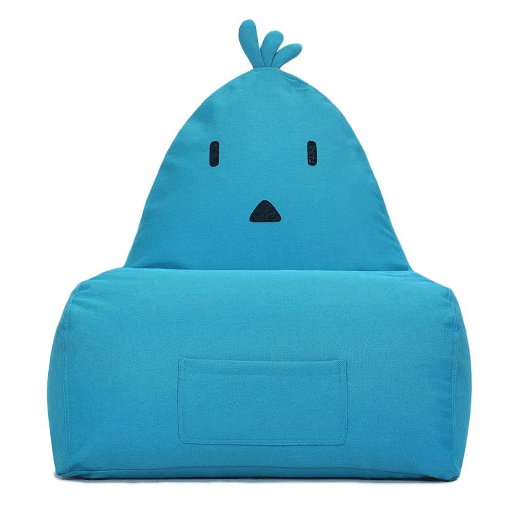 bluee Lazy Couch Bean Bag, Creative Cartoon Bird Single Sofa, Living Room Balcony Fabric Chair, 5 colors Optional (color   Dark bluee)